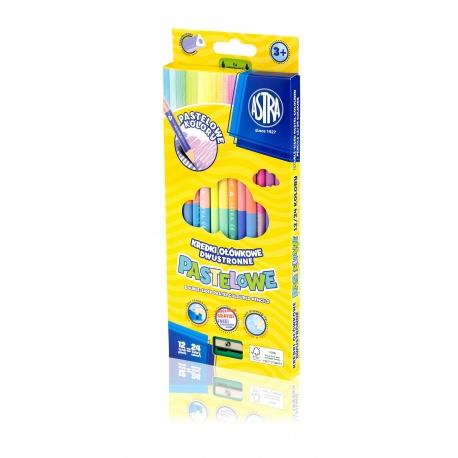ASTRA Trojhranné pastelové obojstranné farbičky 12ks / 24farieb + strúhadlo, 312120003