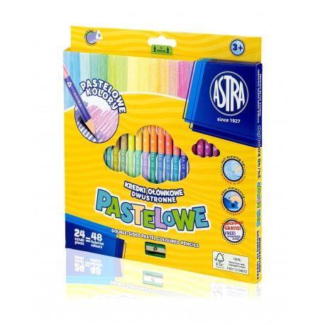 ASTRA Trojhranné pastelové obojstranné farbičky 24ks / 48farieb + strúhadlo, 312120005