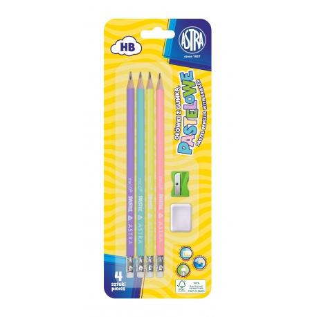 ASTRA Pastel,4x obyčajná HB ceruzka s merítkom a gumou, strúhadlo+guma, blister, 206120007
