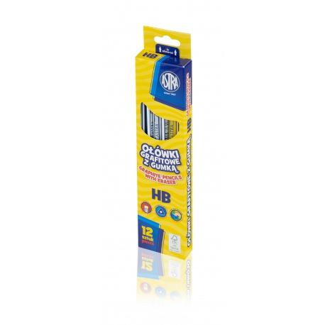 ASTRA Obyčajná ceruzka s gumou, tvrdosť HB, krabička, 206120010