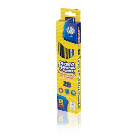 ASTRA Obyčajná ceruzka s gumou, tvrdosť 2B, krabička, 206120012