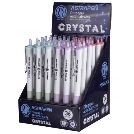 ASTRA CRYSTAL, Guľôčkové pero 0,7mm, modré, stojan, mix farieb, 201120004