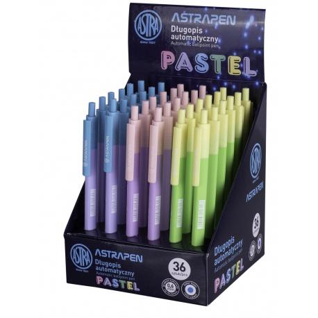 ASTRA PASTEL, Guľôčkové pero 0,6mm, modré, stojan, mix farieb, 201121001