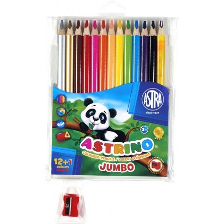 ASTRINO Školské ergonomické trojhranné farbičky JUMBO 12+1ks + strúhadlo, 312115004