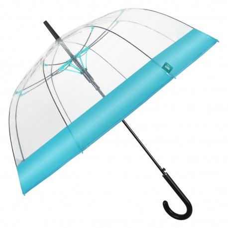 PERLETTI® Dámsky automatický dáždnik COLOR BORDER Transparent / tyrkysová, 26137
