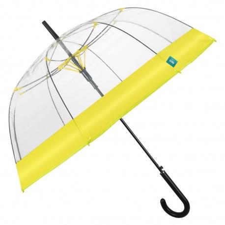 PERLETTI® Dámsky automatický dáždnik COLOR BORDER Transparent / žltá, 26137