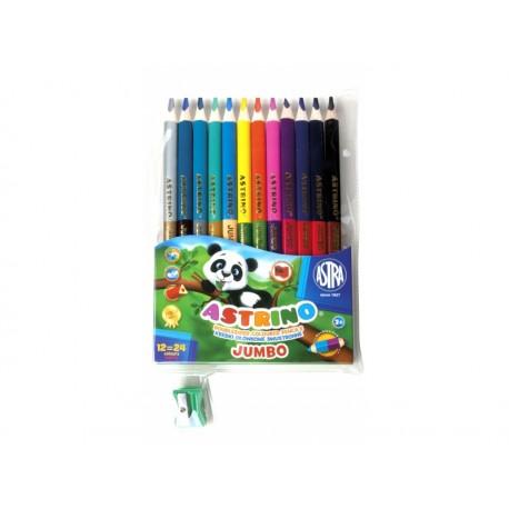 ASTRINO Školské trojhranné farbičky JUMBO 12ks/24farieb + strúhadlo, 312116003 ASTRA AST2289