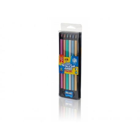 ASTRA Metalické farbičky z čierneho dreva 6ks + strúhadlo, 312118007 ASTRA AST2930