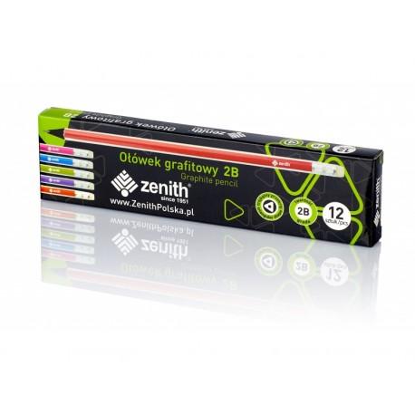 ZENITH, 12ks Obyčajná 2B ceruzka z čierneho dreva s gumou, 206012003 ASTRA AST2875