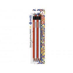 ZENITH Basic, 4ks Obyčajná HB ceruzka s gumou, blister, 206315004