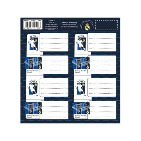 Samolepiace štítky na zošity 8ks REAL MADRID, RM-107, 708017003 ASTRA REA1359x