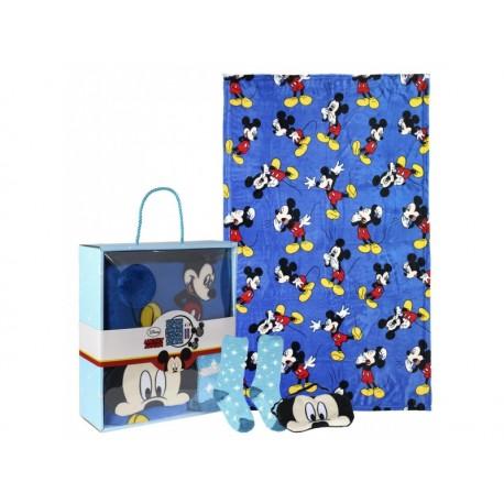 Darčekový set na spanie MICKEY MOUSE / coral deka, teplé ponožky, maska, 2200003376