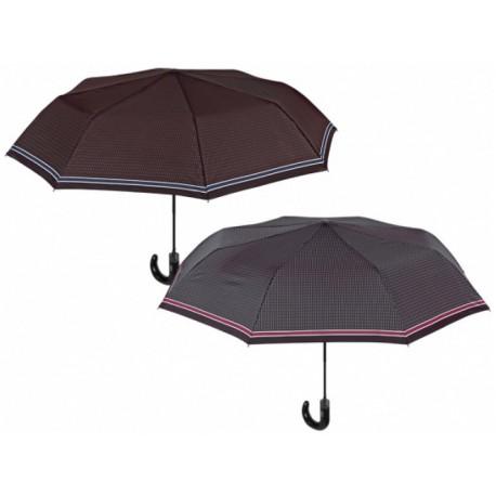 PERLETTI® Pánsky automatický skladací dáždnik hnedý (modrý pásik)