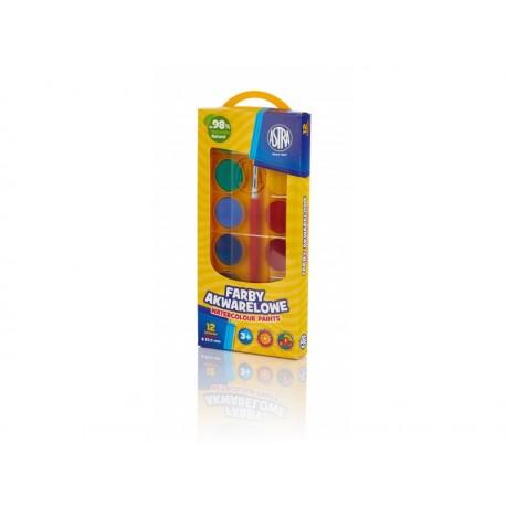 ASTRA Vodové farby so štetcom priemer 23,5mm 12 farieb, 302118001 ASTRA AST2726