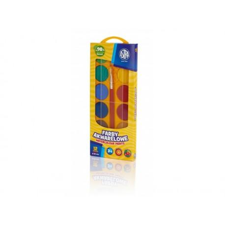 ASTRA Vodové farby so štetcom priemer 30mm 12 farieb, 302118002 ASTRA AST2725