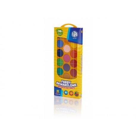 ASTRA Vodové farby so štetcom priemer 23,5mm 18 farieb, 302118003 ASTRA AST2724