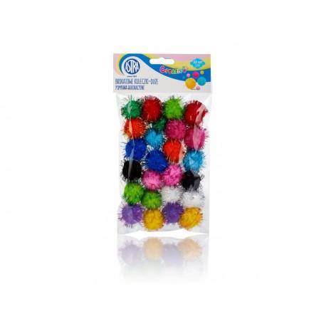 CREATIVO Plyšové POM POM guličky s leskom 30mm, mix farieb, 25ks, 335119018 ASTRA AST2678