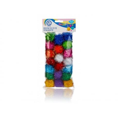 CREATIVO Plyšové POM POM guličky s leskom 40mm, mix farieb, 20ks, 335119019 ASTRA AST2677