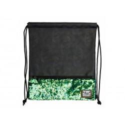 Luxusné koženkové vrecúško / taška na chrbát HASH®, Green Sequins, HS-135