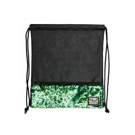 Luxusné koženkové vrecúško / taška na chrbát HASH®, Green Sequins, HS-135, 507019022 HASH® HAS0976