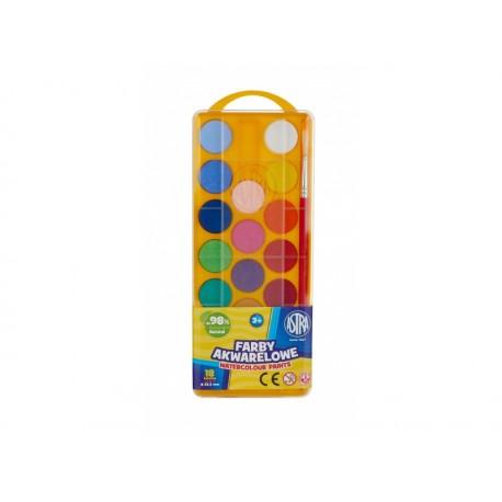 ASTRA Vodové farby so štetcom priemer 23,5mm, 18 farieb, 83210900 ASTRA AST2981