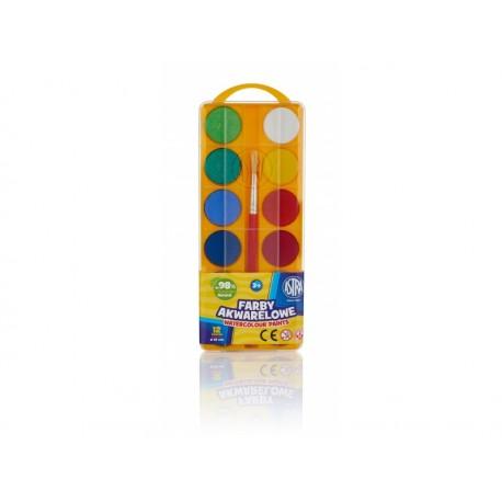 ASTRA Vodové farby so štetcom priemer 30mm, 12 farieb, 83216904 ASTRA AST2980