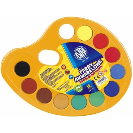 ASTRA Vodové farby na paletke priemer 30mm, 12 farieb, 83216903 ASTRA AST2979