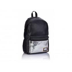Štýlový koženkový batoh HEAD Black Silver, HD-353, 502019086
