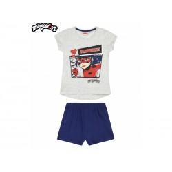Dievčenské bavlnené krátke pyžamo KÚZELNÁ LIENKA sivo/modré