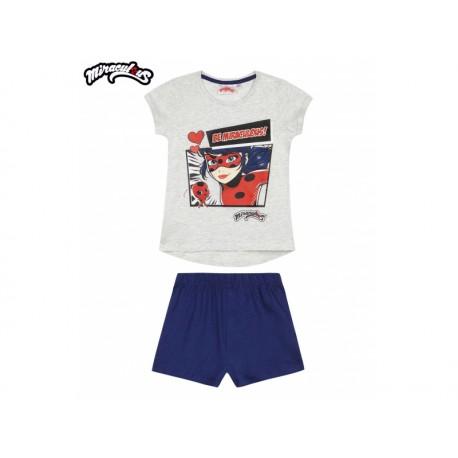 Dievčenské bavlnené krátke pyžamo KÚZELNÁ LIENKA sivo/modré,    LamaLoLi MIR0839|4