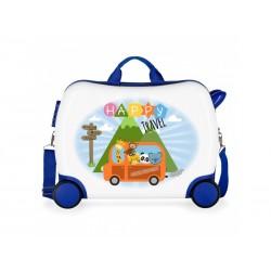 JOUMMA BAGS Detský cestovný kufor na kolieskach / odrážadlo HAPPY TRAVEL