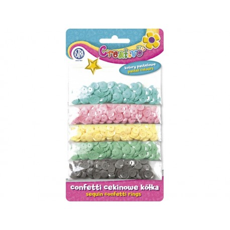CREATIVO Dekoračné konfety KRÚŽKY Pastel 1000ks, 335116005 ASTRA AST2322