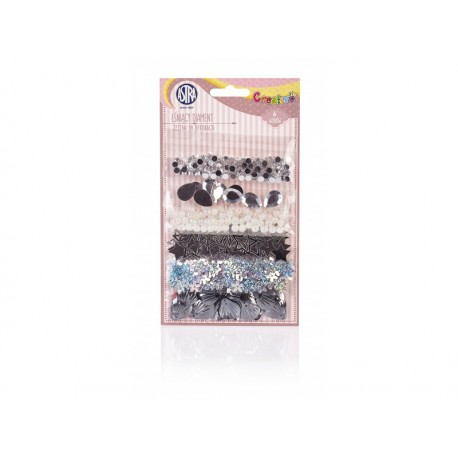 CREATIVO Dekoračná sada (konfety, flitre, korálky, kryštáliky) SILVER, 335117003