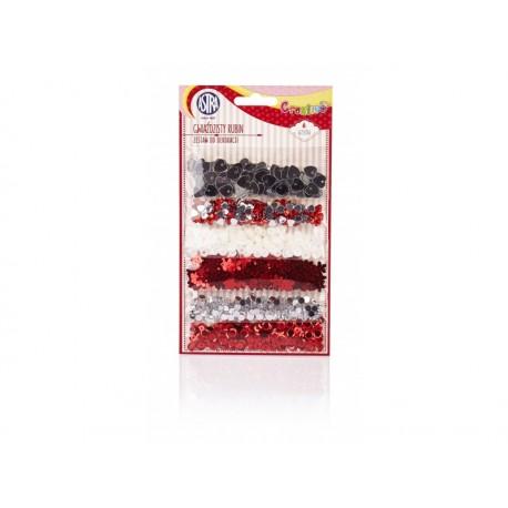 CREATIVO Dekoračná sada (konfety, flitre, korálky, kryštáliky) RUBÍN, 335117005
