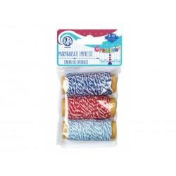 CREATIVO Dekoračná bavlnená šnúrka 3x10m MARINE Modrá/Červená, 335118007