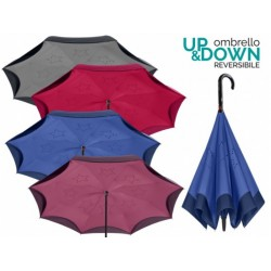 PERLETTI® Luxusný dáždnik UP & DOWN REVERSIBLE bordový