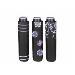 PERLETTI® Dámsky skladací dáždnik THREE BLACK / kvety
