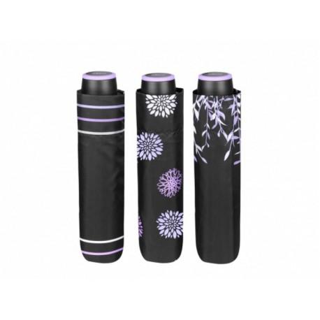 PERLETTI® Dámsky skladací dáždnik THREE BLACK / kvety, 26056