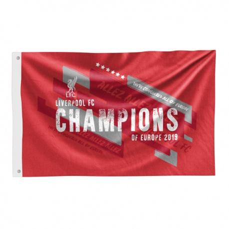 Klubová vlajka 152/91cm FC LIVERPOOL Champions of Europe 2019