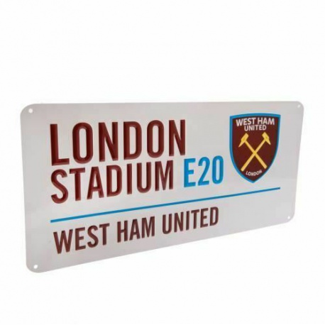 Plechová tabuľa 40/18cm WEST HAM UNITED F.C. White FOREVER COLLECTIBLES WES1986