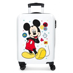 Luxusný detský ABS cestovný kufor MICKEY MOUSE White, 55x38x20cm