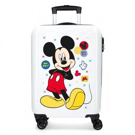 Luxusný detský ABS cestovný kufor MICKEY MOUSE White, 55x38x20cm JOUMMA BAGS MIC1524