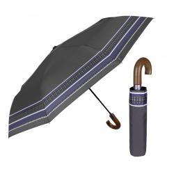 PERLETTI® Skladací dáždnik s drevenou rúčkou BORDER / Sivý