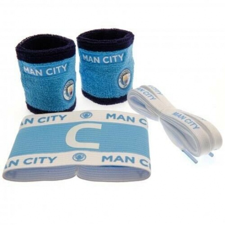Accessories set MANCHESTER CITY (2x potítko, kapitánska páska, šnúrky do topánok) FOREVER COLLECTIBLES MNC1759