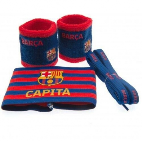 Accessories set FC BARCELONA (2x potítko, kapitánska páska, šnúrky do topánok) FOREVER COLLECTIBLES BRC1582x