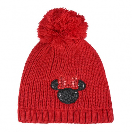 Detská zimná čiapka s aplikáciami MINNIE MOUSE Red Premium ,2200004283 CERDÁ MIN0561