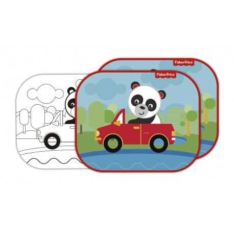 FISHER-PRICE® Slnečná clona pre deti do auta + omaľovánka PANDA, FP10169
