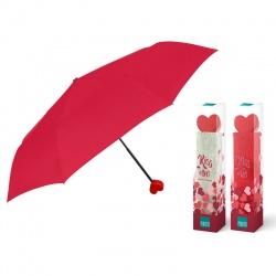 PERLETTI® Dámsky skladací dáždnik VALENTIN / červený obal, 26099