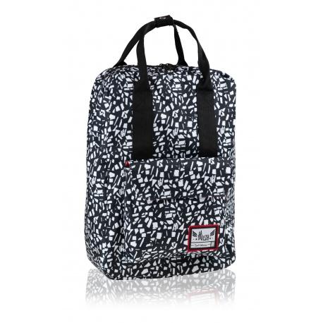 HASH® Štýlový batoh s rúčkami Black Terrazzo, HS-338, 502020088