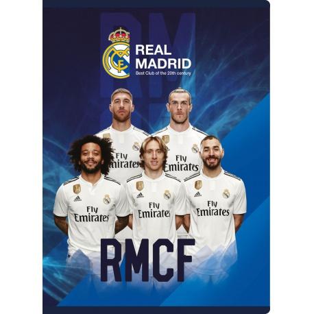 REAL MADRID, Zošit A5 štvorčekový (5x5mm), 16 listov, mix vzorov, 102019011